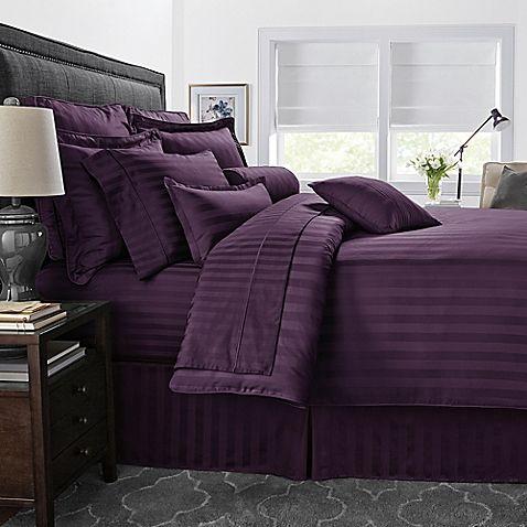 500-Thread-Count Damask Stripe Reversible King Comforter Set in Purple