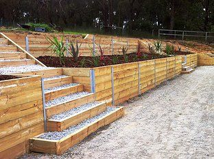 find this pin and more on timber retaining walls - Timber Retaining Wall Design