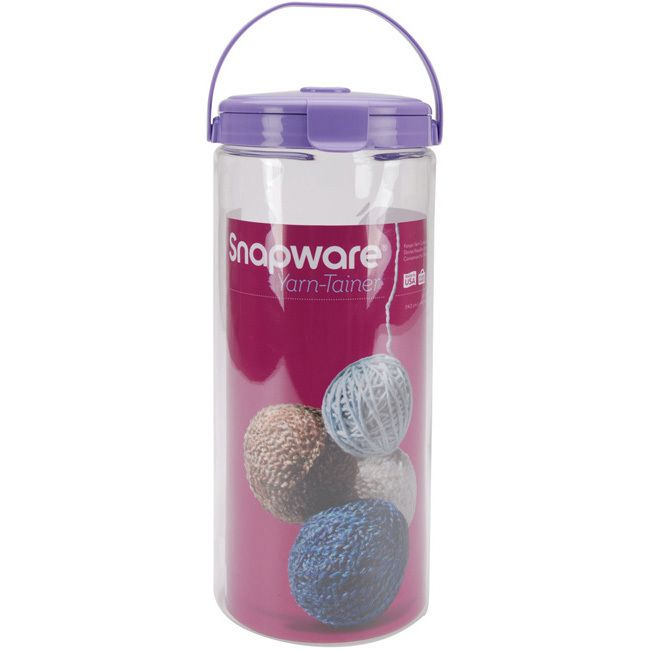 Brand: Snapware Type: Yarn tainer Materials: Plastic Keeps yarn contained and tangle-free Carry handle makes it perfect for on-the-go knitters and crafters Can also be used to store knitting needles,