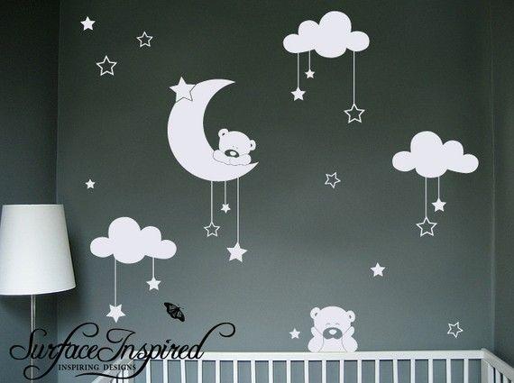 Pépinière Wall Decals - peluches ours Stickers muraux avec des étoiles et nuages stickers. Stickers muraux pour garçons et filles de pépinière.