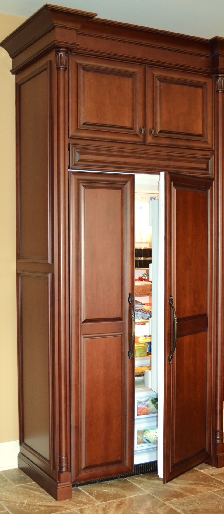 Wooden Refrigerator Cabinets ~ Wood panel refrigerator kitchens pinterest
