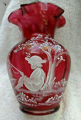 Fenton S Cranberry Mary Gregory Boy Fishing Vase Limited Edition 840 2350 Fenton Fanatic