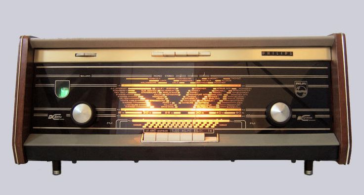 vintage radio: 1960 Philips Bi-Ampli B5X04A • radio was 1st proven to work by Heinrich Rudolf Hertz, Germany 1888 but 1st commercial radio 1894 by Italian inventor Guglielmo Marconi • photo via VintageRadio.nl