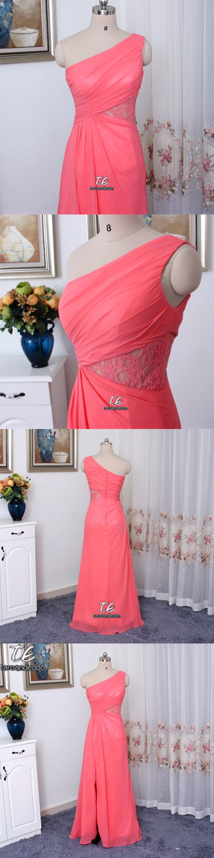 One-Shoulder Chiffon Side Slit Coral Bridesmaid Dress with Lace Inset F19419 Wedding Party Dress Formal Dresses
