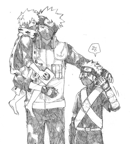 Kakashi and his little punk selves :D I always love how obnoxious little Kakashi was.