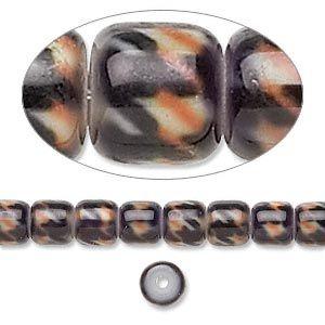 Glass Cylinder, Black, Orange and Red, 6x6mm, 16inch strand