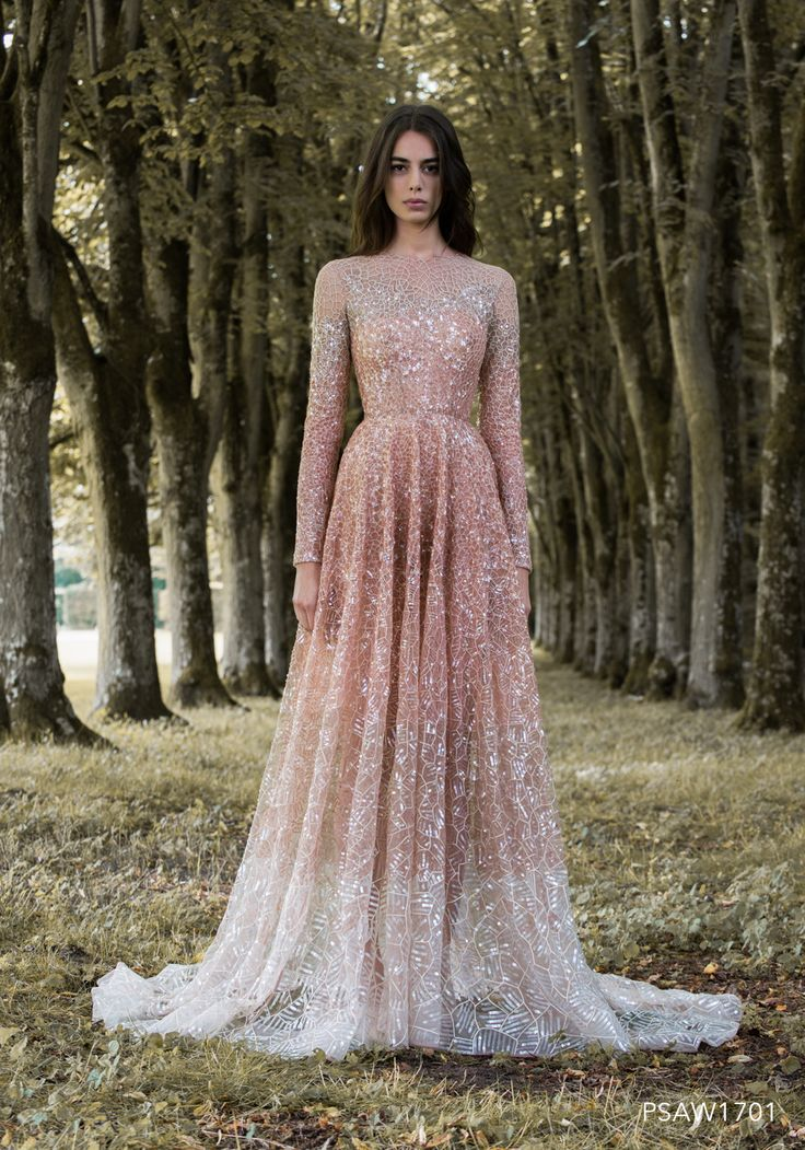 PSAW1701 - Dégradé gown with dragonfly wing mosaic embroidery and beadwork