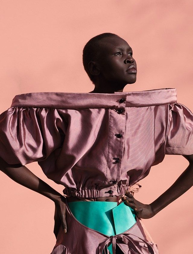 Alek Wek wears dress Andreas Kronthaler for Vivienne Westwood