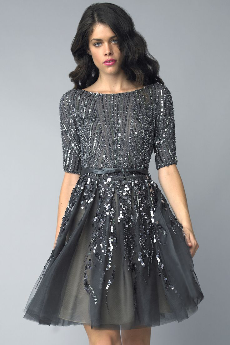 Tulle and sequin cocktail dress with 3/4 sleeve and flare skirt