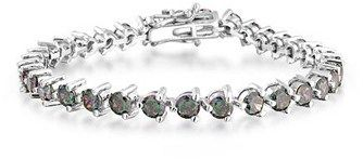 Bling Jewelry Cz Simulated Rainbow Topaz Tennis Bracelet Rhodium Plated.