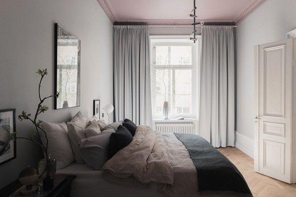 grå väggar, sovrum hotellkänsla
