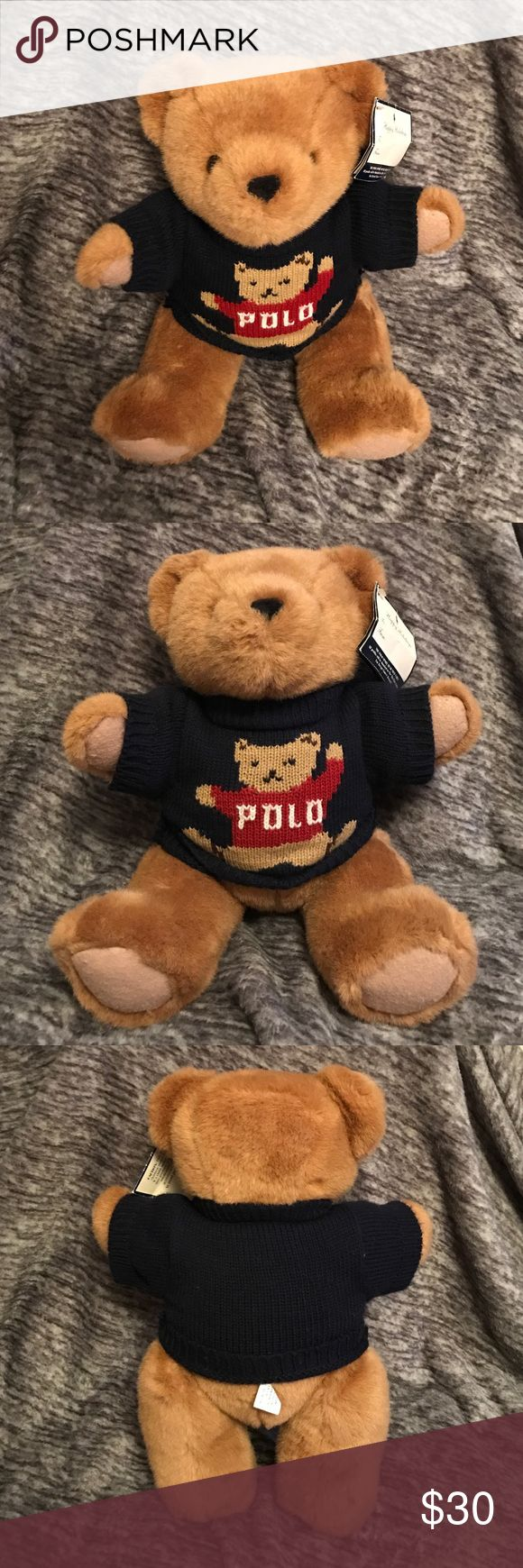Ralph Lauren Polo Sport Teddy Bear w/ Sweater 16in 1997 NWT Polo Ralph Lauren Teddy Bear with Teddy Bear Sweater with Movable Legs. 16 inches tall. Tags are slightly dirty. Polo by Ralph Lauren Other