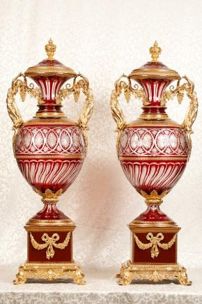 Pair Cut Glass Antique French Empire Maiden Vases Porcelain Base Architectural