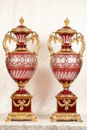 Pair Cut Glass Antique French Empire Maiden Vases Porcelain Base Architectural