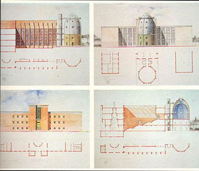 Watercolor drawings by Aldo Rossi : Bonnefanten Museum Maastricht (1991)