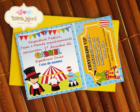 Convite - Ingresso de Circo | Tamires Jobard Personalizações - Tudo Personalizado para sua Festa | 33547C - Elo7
