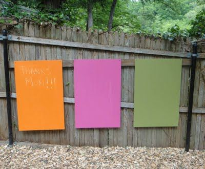 outdoor chalkboards in colour, yes please.