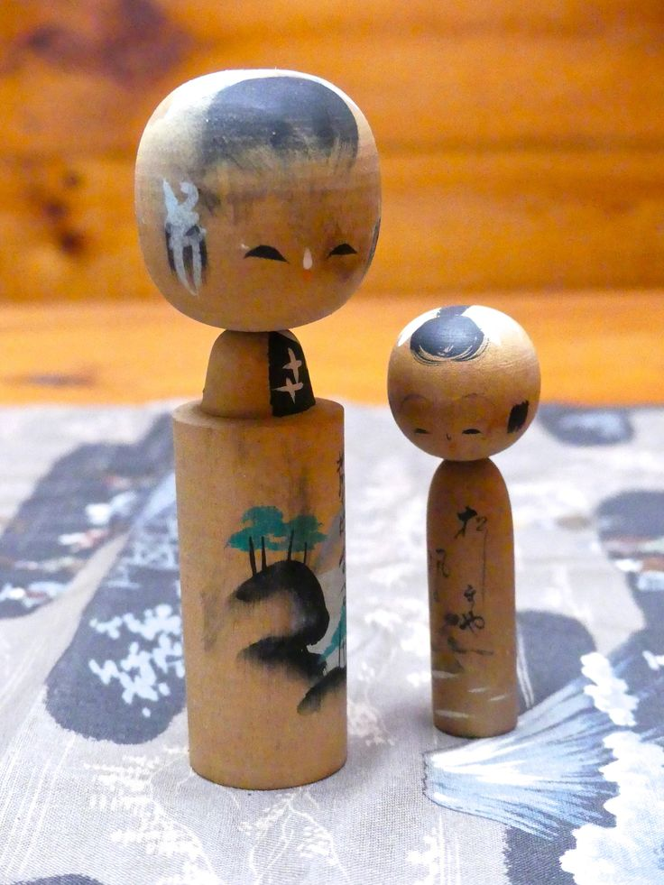 Vintage Japanese Wooden Mother and Child Kokeshi Dolls by JessaBellas on Etsy