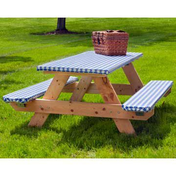 Elasticized Picnic Table Cover Set. Never worry about the table cloth flying away.