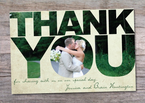 Thank You Card with Photo inside the Letters