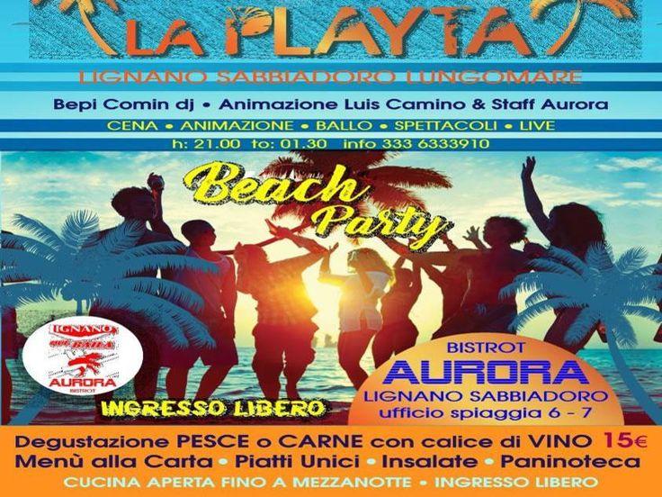 Appuntamento con la musica ed il ballo latino americano! abbiamo il piacere di invitarvi presso l'aurora beach bar per il nuovo Mercoledì Latino in Spiaggia!  Vi aspettiamo ogni mercoledi fino al 23 agosto dalle ore 21:00 alle ore 01:30  Dj Bepi CominAnimazione Live Percussion Luis Camino  Cucina aperte fino a mezzanotte Bar aurora Lungomare trieste,9 - Lignano sabbiadoro  Perinformazioni: Telefono: 3336333910