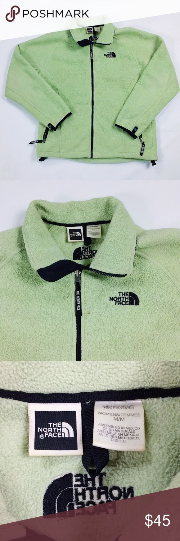 Medium The North Face Green Zip Up Fleece Jacket 90s vintage The North Face women's Medium zip up fleece. Excellent condition other than a few small stains that may come out, but nothing major. Still has plenty of wear left. The North Face Jackets & Coats
