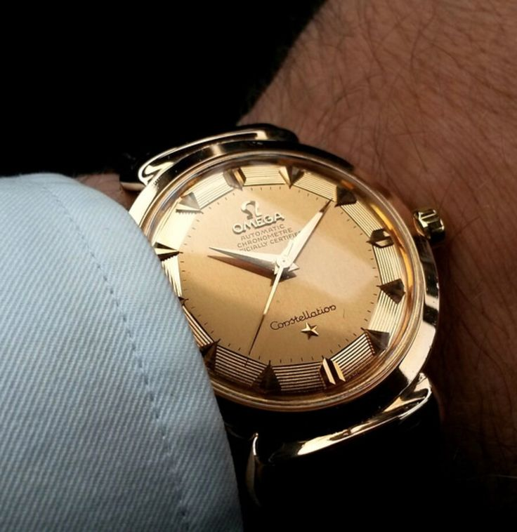pan watches omega solid shop constellation automatic gold vintage pie