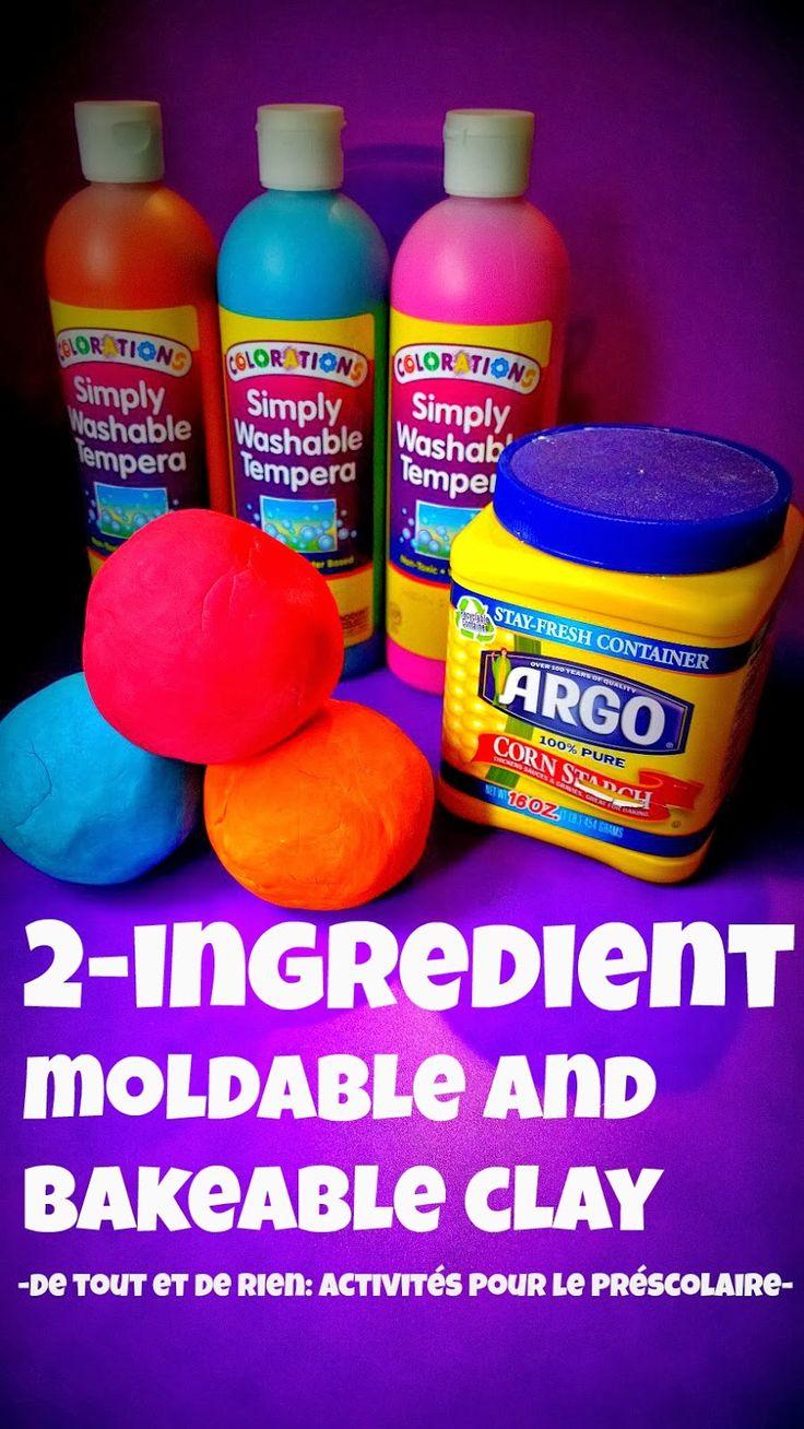 De tout et de rien: Activités pour le Préscolaire: 2 ingredients moldable and bakeable cornstarch clay - Argile à modeler de fécule de maïs avec 2 ingrédients seulement