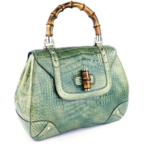 GUCCI Bamboo & Mint Green Alligator Handbag – THE WAY WE WORE (39.400 DKK) ❤ liked on Polyvore featuring bags, handbags, bamboo handbag, gucci, mint green purse, gucci handbags and man bag