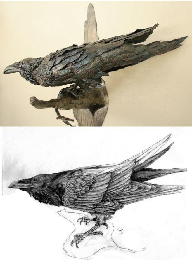 Common raven, raven sculpture, welded sculpture