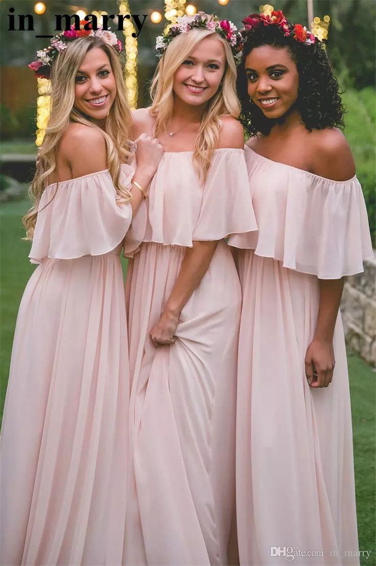 Pink Chiffon Long Country Beach Bridesmaids Dresses 2017 A Line Off Shoulder Plus Size Ruffles Boho Maid Of Honors Wedding Guest Gowns