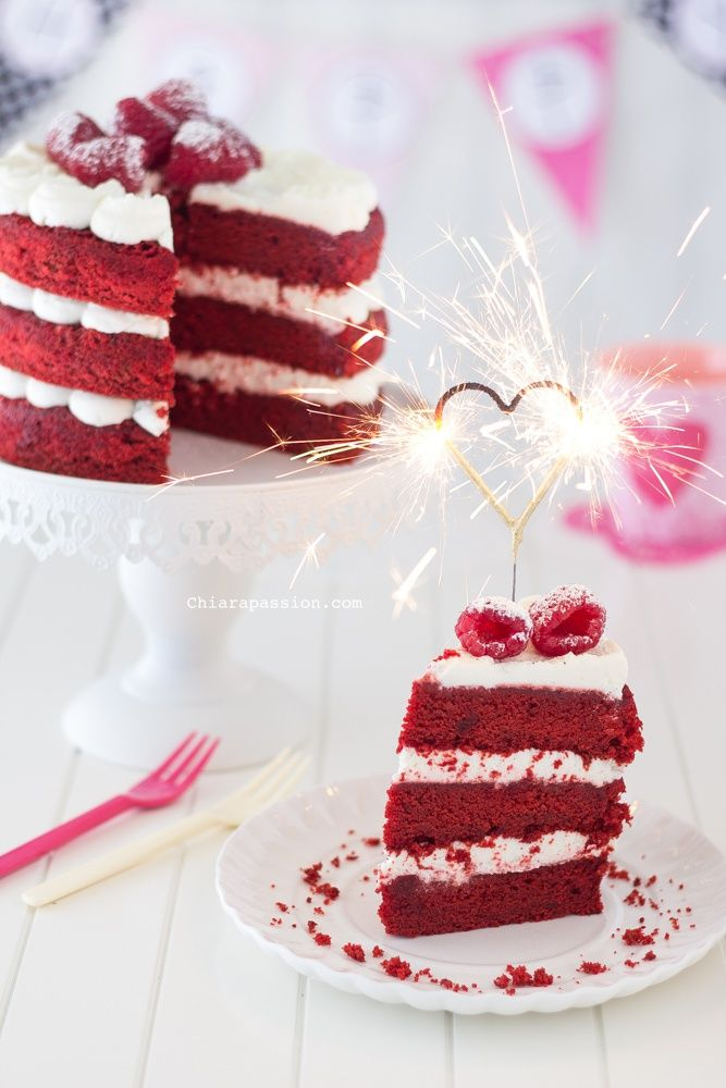 red velvet cake, heart sparklers. Food photography