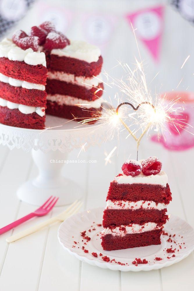 red velvet cake, heart sparklers. Food photography