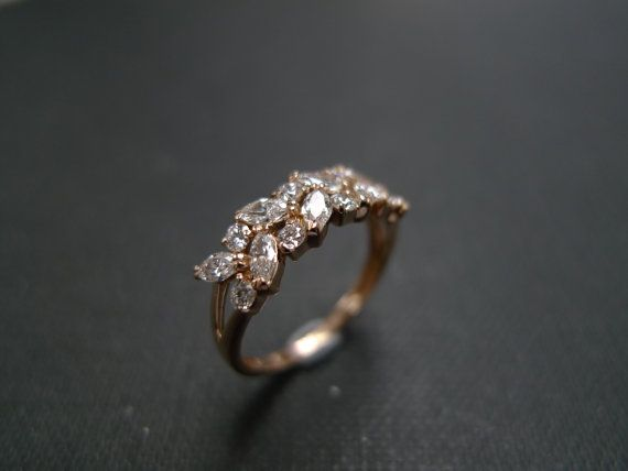 Marquise Diamond Wedding Ring in 14K Rose Gold by honngaijewelry