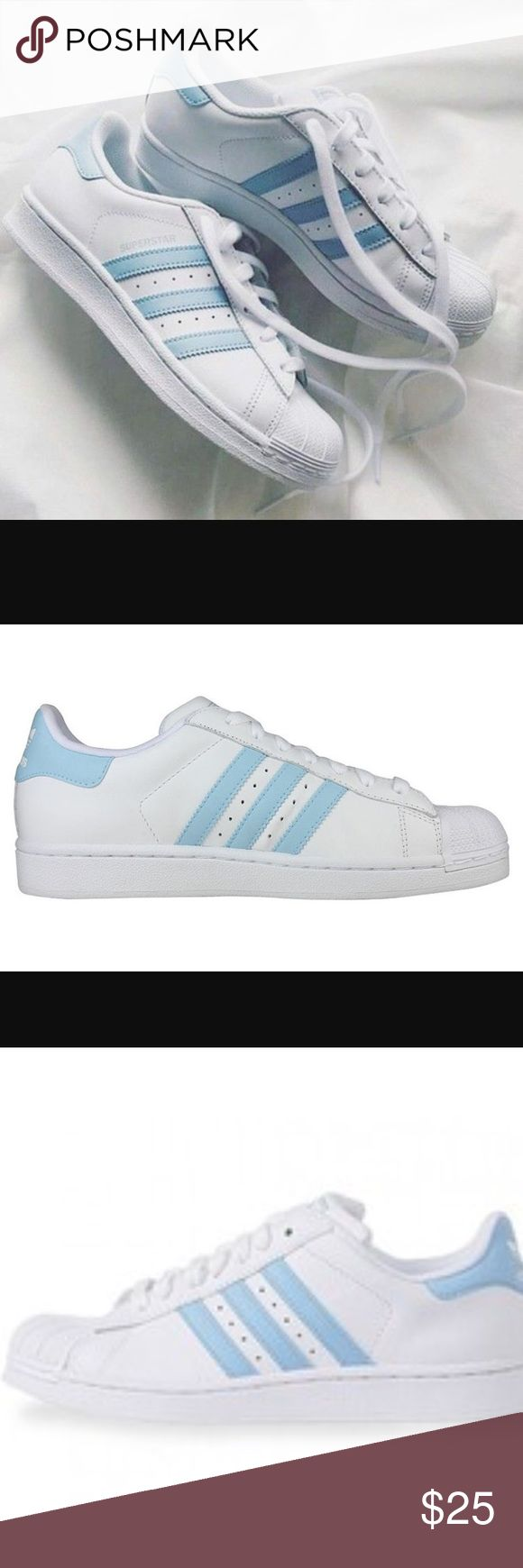 ISO vintage adidas superstars I am ISO-Do Not Attempt To Buy! These are very hard to find and I am REALLY in love with them. If anyone has these in good/like new/new condition comment down below please!! These are adidas superstars and they are white with a sky blue trim in size either 9.5 or 10 women's. Thank you! Adidas Shoes Sneakers