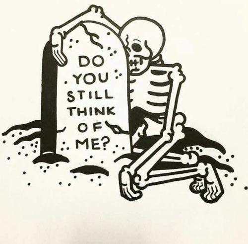 grave stone skeleton skull tattoo flash art a