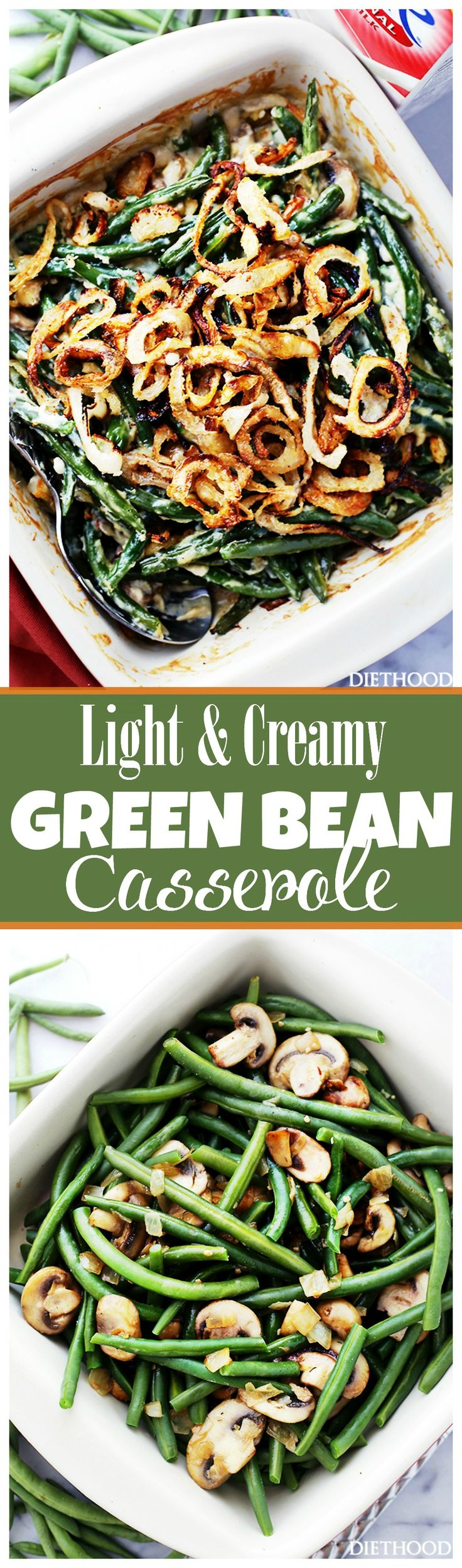 Lightened-Up Creamy Green Bean Casserole - A delicious and creamy lightened-up version of everyone's favorite Thanksgiving green beans side dish made with fresh ingredients, and without the canned processed creams.