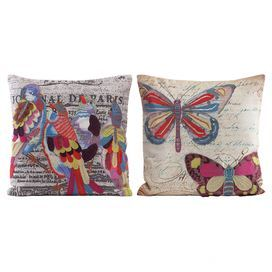 """Showcasing vibrant embroidered and appliqued accents, this striking pillow adds a pop of color to your favorite sofa or arm chair.   Product: Set of 2 pillowsConstruction Material: Cotton and polyesterColor: MultiFeatures: Insert includedDimensions: 18"""" x 18"""""""