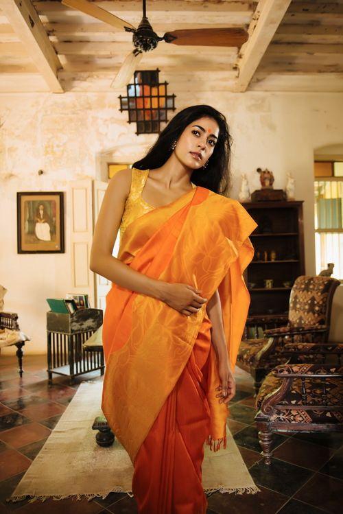 Cotton silk saree or sari with blouse