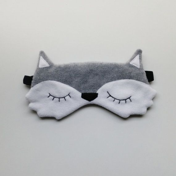 Adjustable wolf sleepmask and its matching pouch by FunkySunday