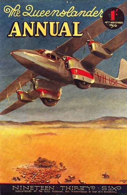 "QANTAS Empire Airways Ltd. DH 86 flies over the outback in this beautiful cover from the November 1936 issue of ""The Queenslander Annual."""