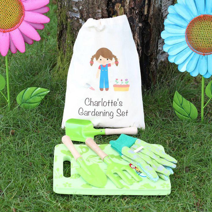Girls Gardening Set With Personalised Bag