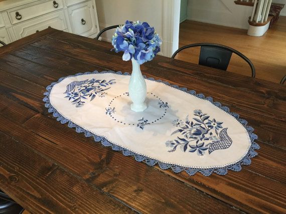 Vintage Embroidered Mexican Blue Flower by RiseShineCollectable