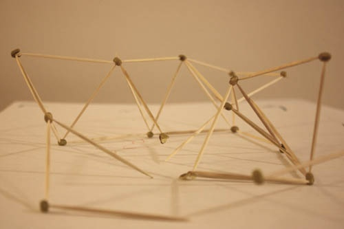 As a test for the 'young architect class' I teach, we tried to build an abstract structure made out of toothpicks and mush peas that where soaked in water for several hours.