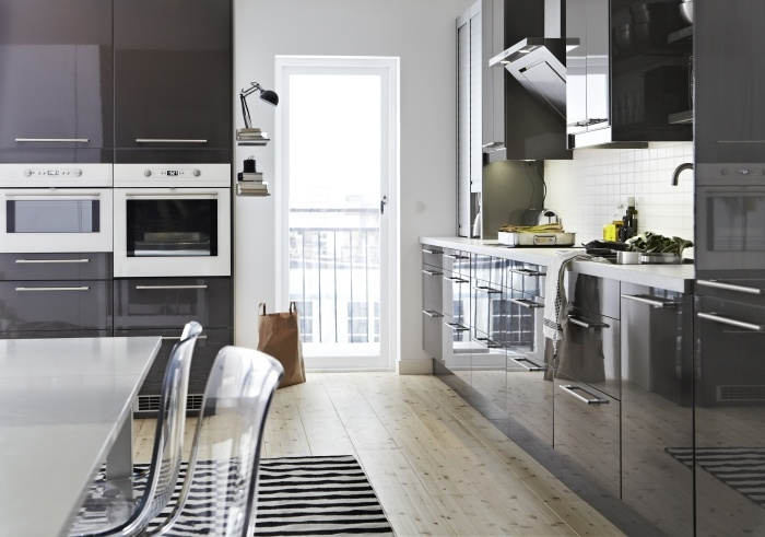 Faktum kitchen with abstrakt high gloss grey doors for Ikea complete kitchen