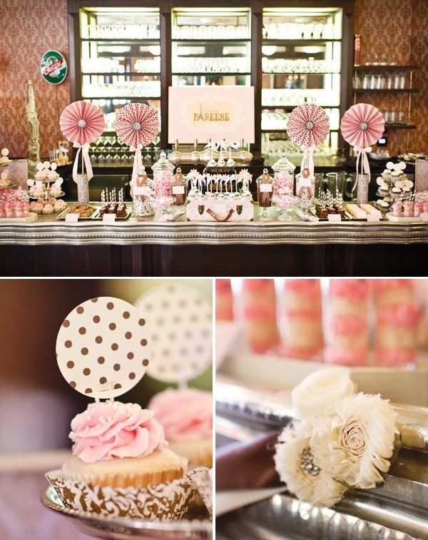 1920s French Bistro Inspired Parisian Bat Mitzvah with vintage style soft pink ribbon details, eiffel tower centerpieces & fabric flowers.