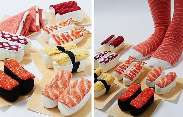 You like sushi? 🍱 You'll love these socks! 🍣 These crazy ones are looking like various traditional types of sushi. 🍤 Choose from shrimp, caviar, octopus, egg, salmon and more! 🍥 You can order from Www.otakumode.com And get either 6 pairs for only $26,99 or 1 pair for only $5,39 (shipping charges not included)!!! 🍤🍣 #socks #crazysocks #lovesocks #sushi #sushisocks #crazygiftideas