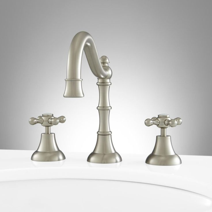 Eunice Widespread Bathroom Faucet - Cross Handles - No Overflow - Brushed Nickel