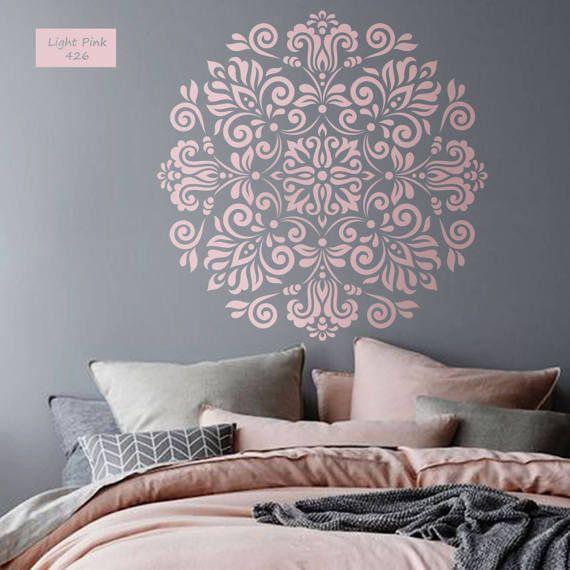 Mandala wall decal Mandala flower vinyl decal Mandala wall art Yoga studio Bedroom flower decor Boho indian design Mandala sticker #021