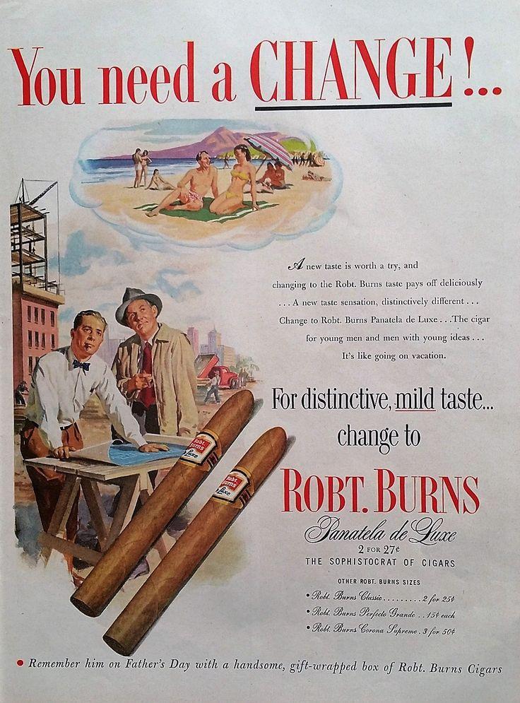 1952 Robt. Burns Cigars Magazine Advertisement -  Cigars, Magazine Ads, 1950s Ads, Advertisement, Vintage Print Ads, Magazine Ads, Ads by Inkart on Etsy